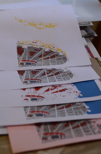 Silk Screening Christmas card 2012