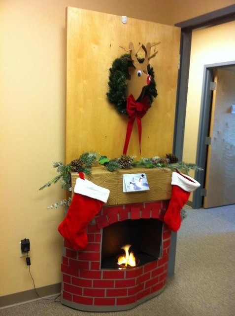 Christmas Door Decorating Contest Cardboard Fireplace And