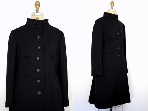 60s black wool coat