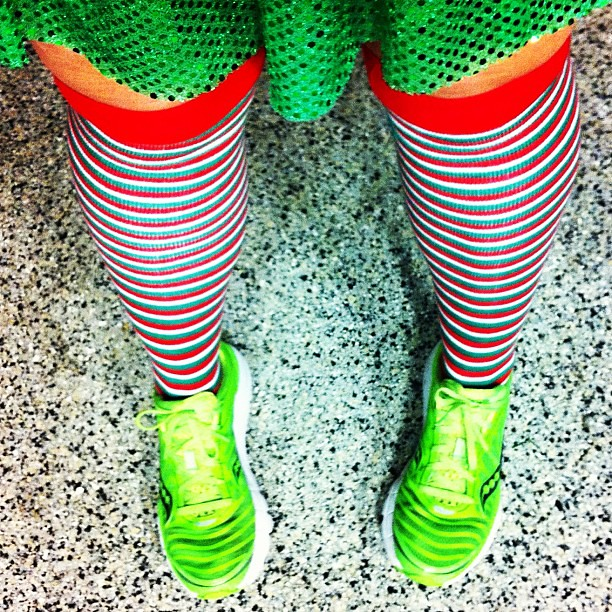 I've got my sparkle @runteamsparkle and stripes on. Ready to run the Santa Run this morning. #runchat #teamsparkle