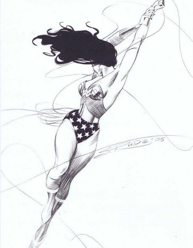 Wonder Woman in flight by Steve Rude