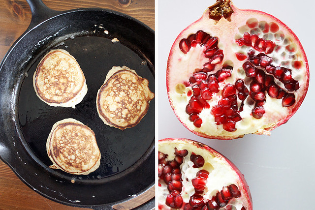 pancakes + pomegranate.