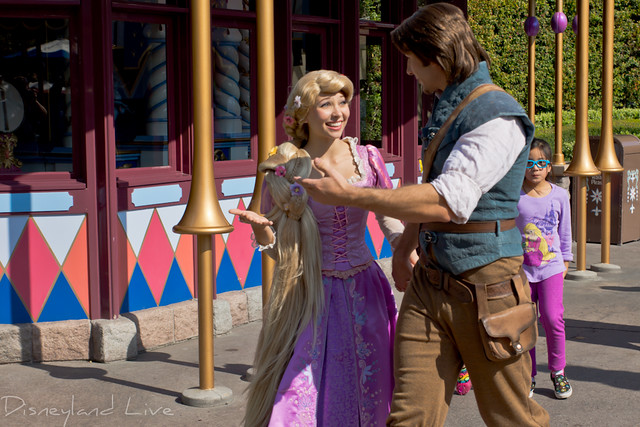 Rapunzel and Flynn Rider in Fantasyland