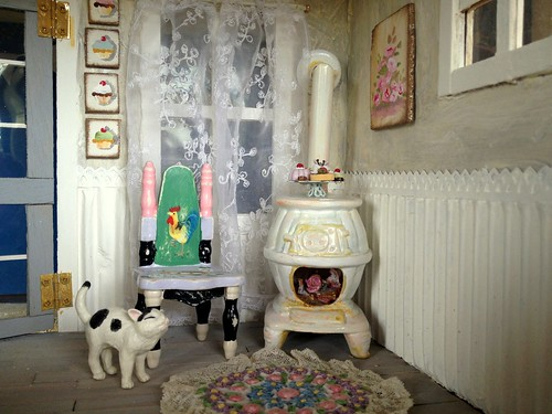 Shabby fairy dollhouse stove