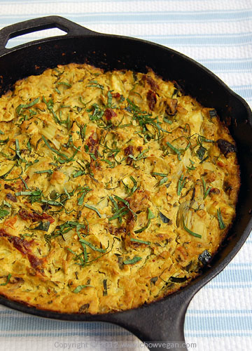 Frittata with Artichoke Hearts and Sun-Dried Tomatoes