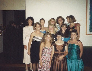 The women's tennis team at a formal event at Coop Ballroom in 1990. That year, the team were SCIAC champions. Photo submitted by Mercedes Fitchett '91.
