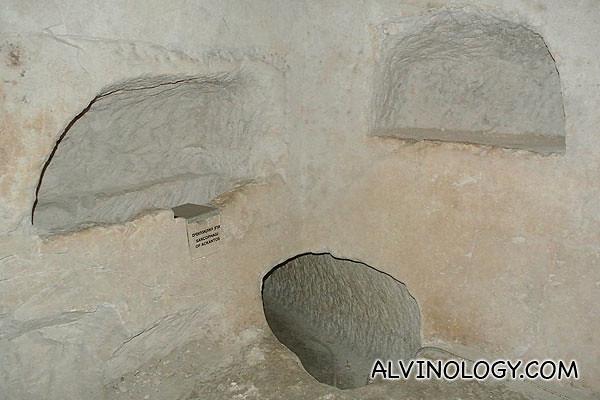 Three hollows were three coffins were found