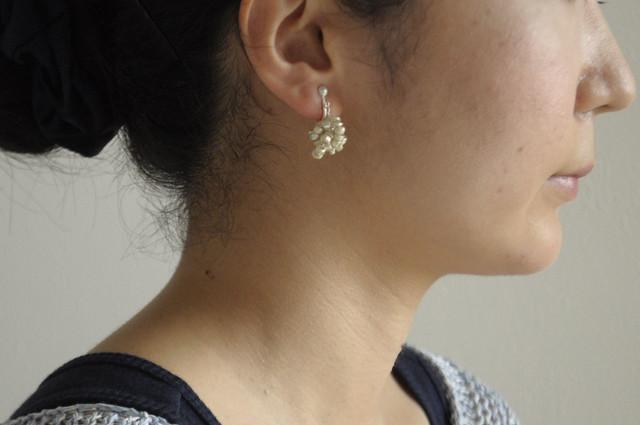 silver beads earrings