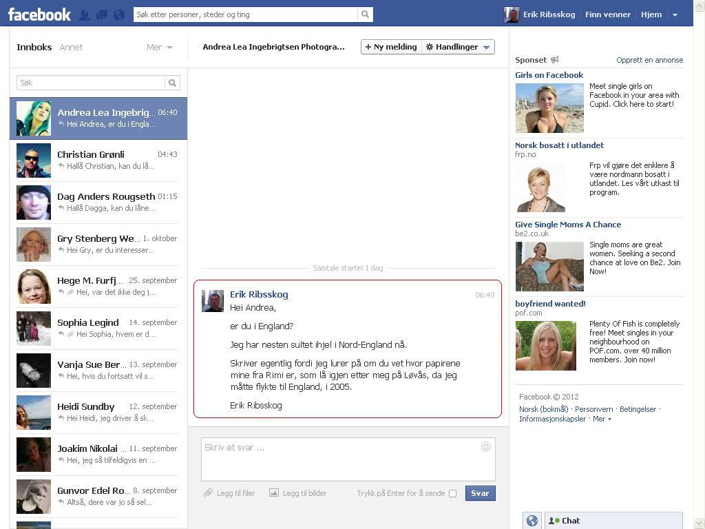 facebook melding andrea