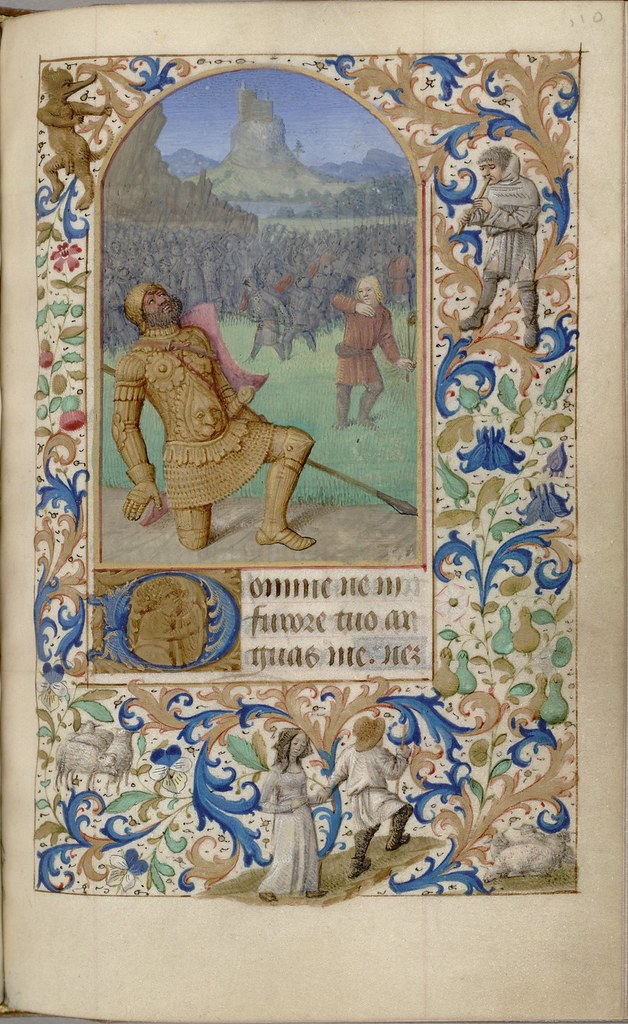 painted manuscript scene of Goliath from Old Testament