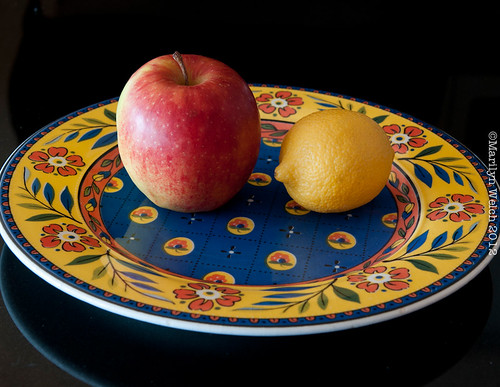"""""""Apple with lemon on Italian plate"""" or just """"Untitled"""" might be better."""