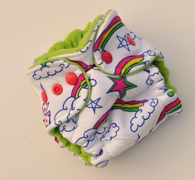 Bumstoppers Newborn Doodle Rainbow Hybrid Fitted **New Style**