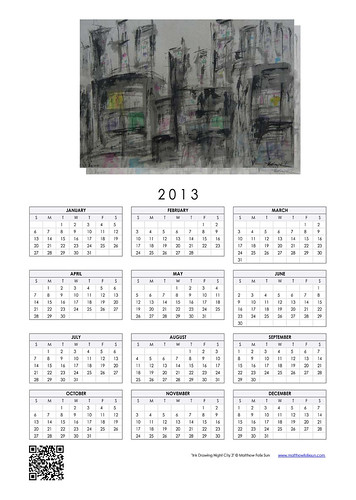 2013 Calendar - Ink Drawing Night City 3