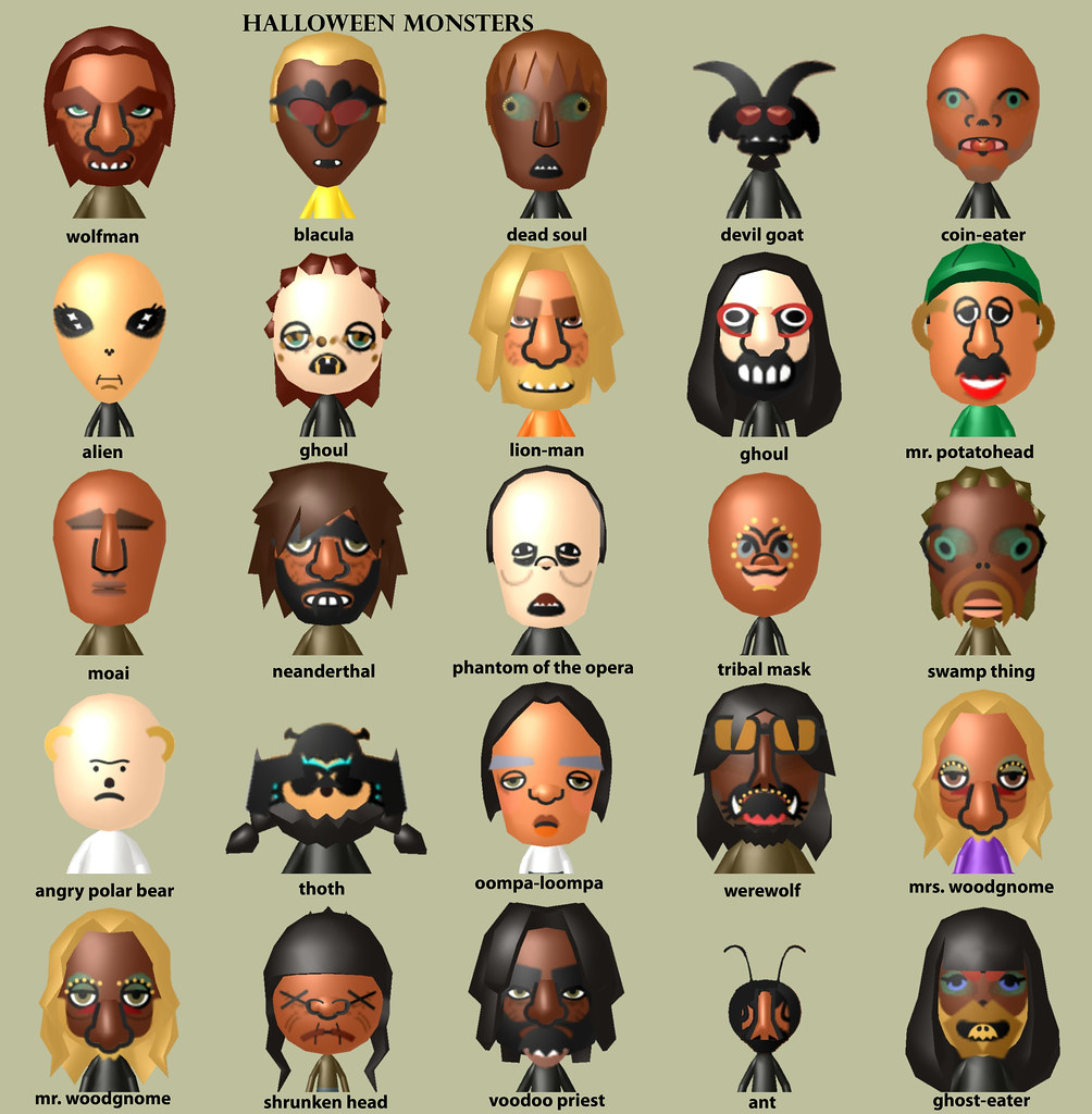 Mii Compilation Halloween Monters Original Miis Created Flickr