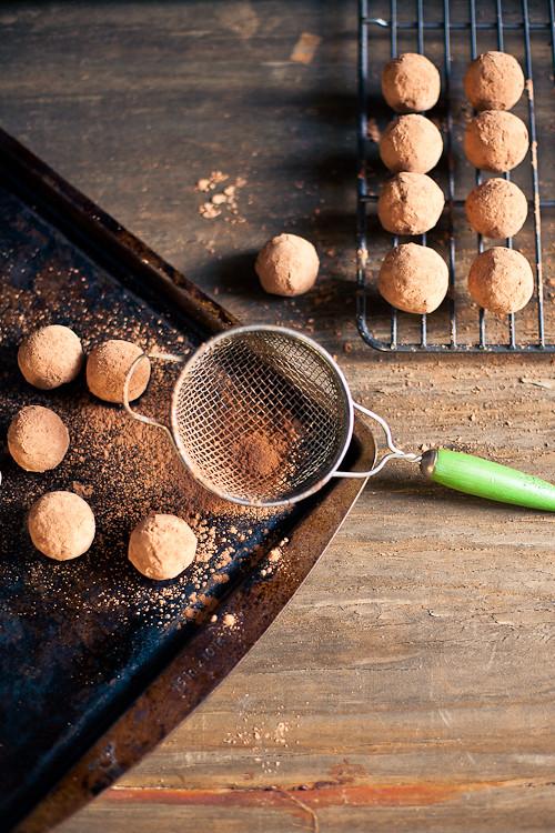 Cocoa covered date truffle