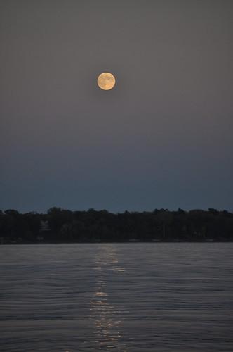 Full Moon Rising Over Lake