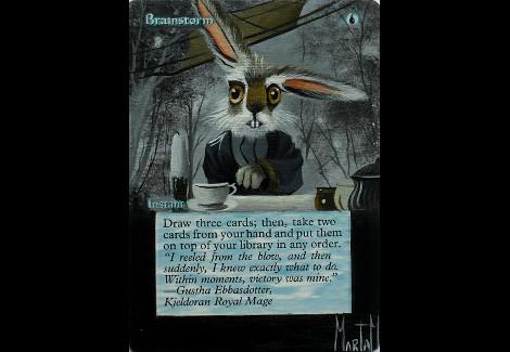 Brainstorm Magic the Gathering altered card art brainstorm Alice in Wonderland rabbit art marta molina