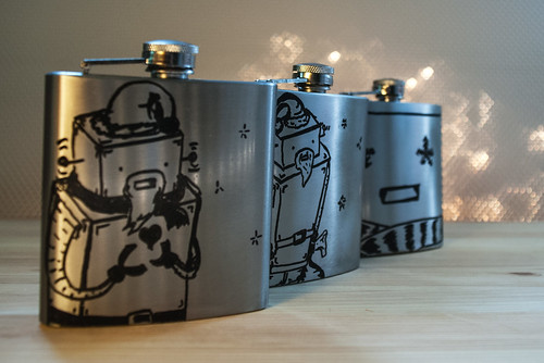 Winter Collection Hand Drawn Custom Robot Custom Flasks BUYALEX