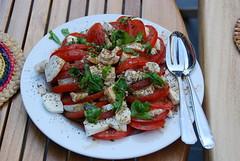 meal, breakfast, salad, vegetable, tomato, caprese salad, produce, fruit, food, dish, cuisine, feta,