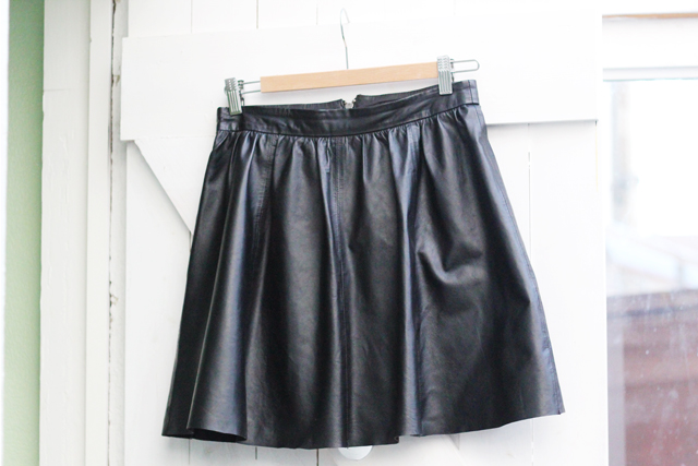 Warehouse leather skater skirt