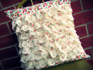 Vintage Inspired Lace Ruffle Pillow