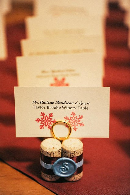 handmade winebottle cork name place cards, with wax seal made at home