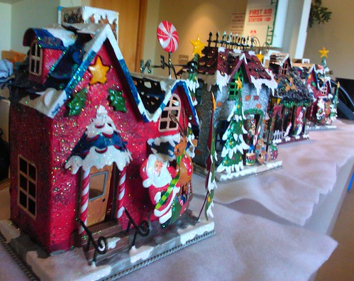 Santa candle house in a row, candy cane, Costco Wholesale corporate headquarters, entry room, Issaquah, Washington, USA by Wonderlane