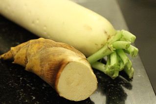 daikon and fresh bamboo