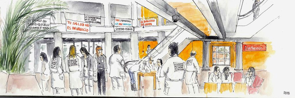 Huelga de profesionales de la sanidad pública en el Hospital Univesitario Fundación Alcorcón