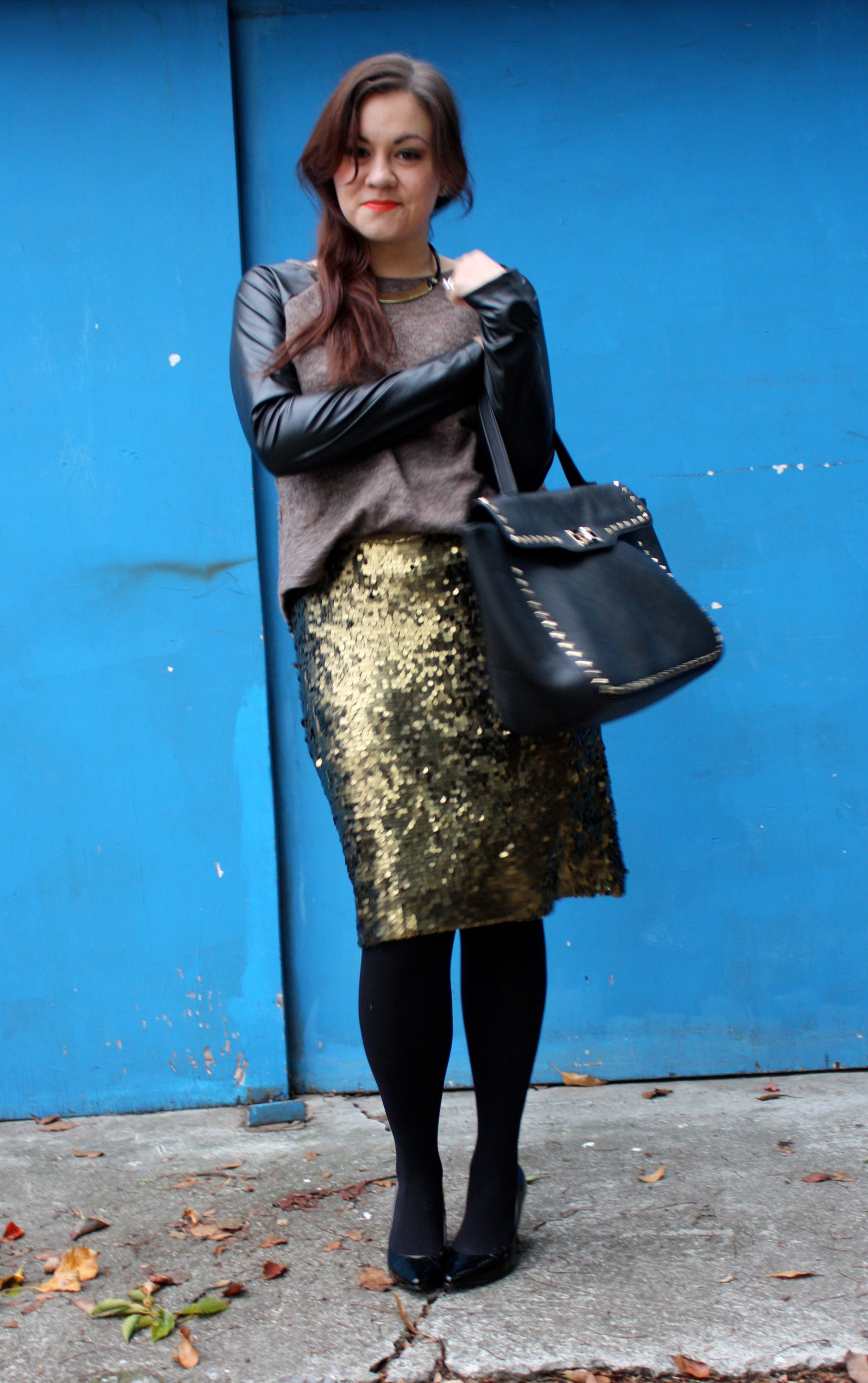 sequin pencil skirt - leather sleeve raglan sweater - studded trim tote - tights - ankle boots07
