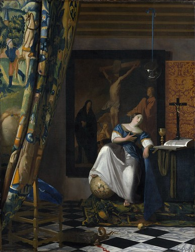 Johannes Vermeer - Allegory of the Catholic Faith [c.1670-72] by Gandalf's Gallery