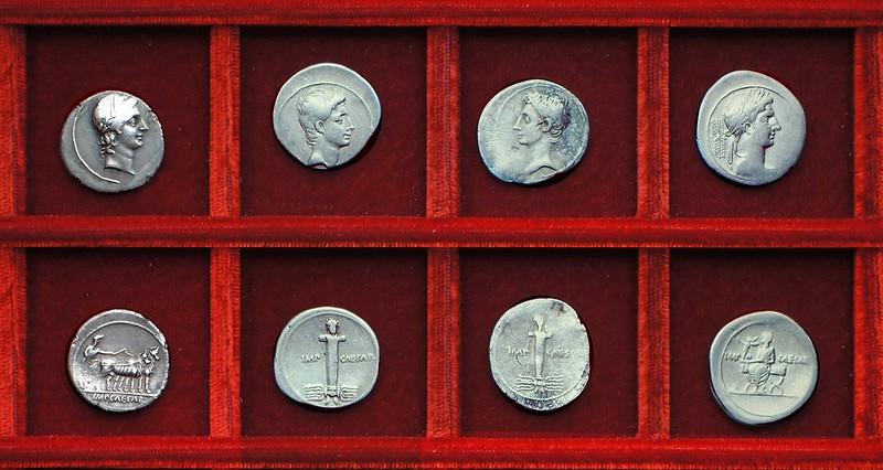 Octavian HCRI 424 Apollo plough scene, HCRI 425, HCRI 426, HCRI 427 Terminal figure issues, Ahala collection, coins of the Roman Republic