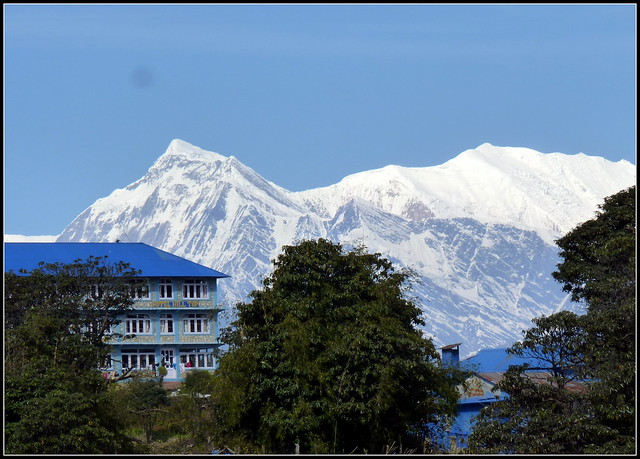 A lodge @ Ghorepani in the backdrop of Dhaulagiri range