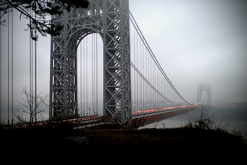 nyc newyorkcity bridge shadow mist snow newyork tree fog geotagged newjersey traffic manhattan nj gothamist georgewashington hdr gwb fortlee georgewashingtonbridge washingtonheights mudpig stevekelley stevenkelley