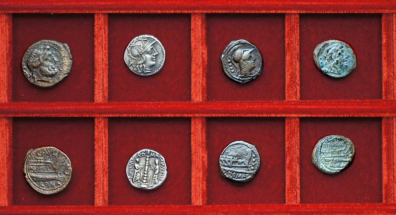 RRC 242 C.AVG Minucia semis, RRC 243 TI. MINVCI C.F. AVGVRINVS Minucia denarius, bronzes, Ahala collection, coins of the Roman Republic