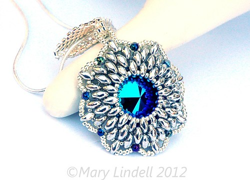 Super Duo Crystal Pendant in Ice Blue