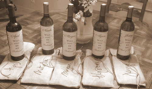 Unique Bridesmaids' Gift: Wine w/Custom Label & Bags by Nina Renee Designs