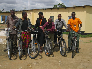 Six of the Kalomo Promoters with their bicycles
