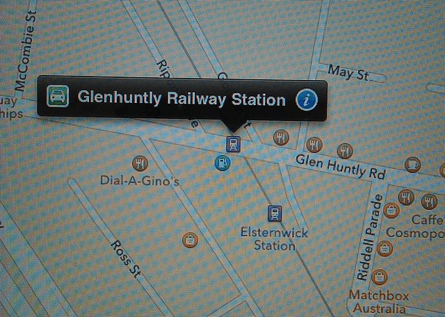 Apple maps: Glenhuntly Railway Station is in Elsternwick