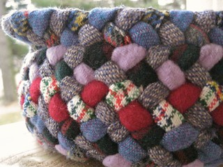 Colorful Wool Braided Basket from recycled wool