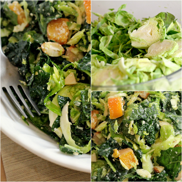 Kale and Brussels Sprout Salad with Roasted Butternut Squash
