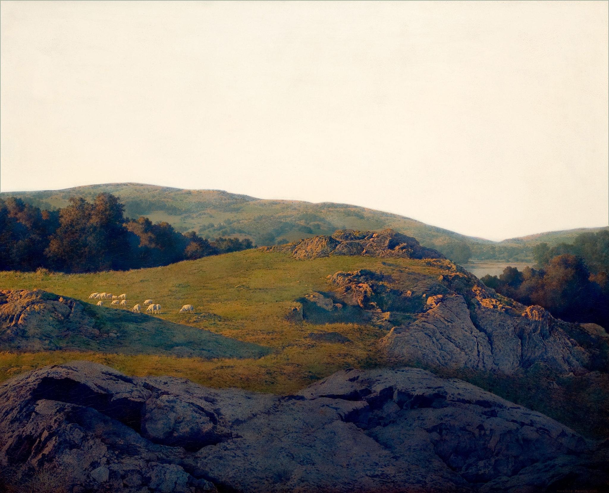 Maxfield Parrish 'Sheep Pasture, Cornish, New Hampshire ...