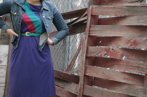 80s dress with jean jacket
