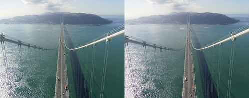View from the top of Akashi-Kaikyo Bridge toward Awaji Island, stereo parallel view