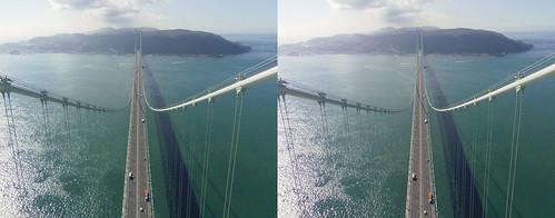 View from the top of Akashi-Kaikyo Bridge toward Awaji Island, stereo parallel view