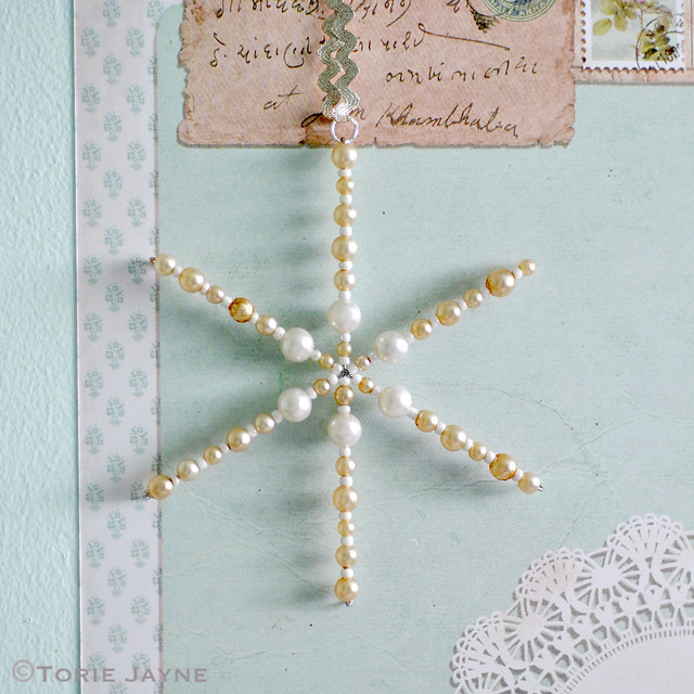 Pearl beaded snowflake