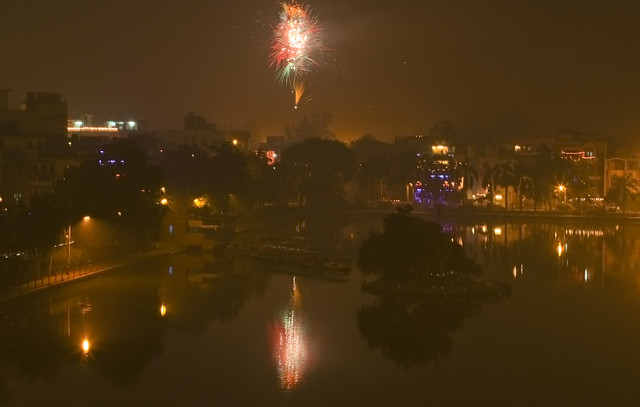 fireworks over Naini lake in Model Town