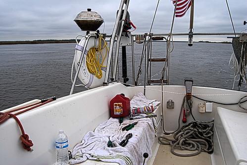 The Outboard Motor De-Salination Area
