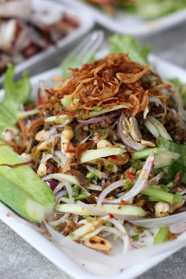 Yam Pla Duk Foo (puffy catfsh salad ยำปลาดุกฟู)