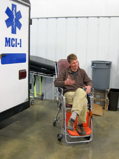 WMI Instructor Brian in the stair chair - WEMT Lander Wyoming
